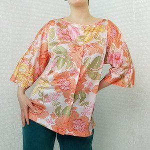 Vintage 70s floral polyester pajama button-up top